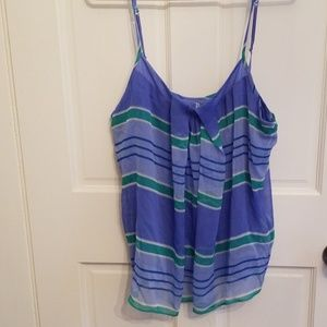 Blue and green striped tank
